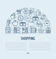shopping concept in half circle vector image vector image