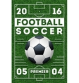 Soccer football poster with field template vector image vector image
