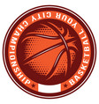 template for badge with basketball ball vector image vector image