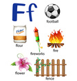 Things that start with the letter F vector image vector image