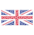 united kingdom flag pattern of warning icons vector image vector image