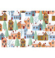 Winter houses seamless pattern