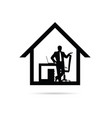 work from home with man silhouette vector image vector image
