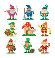fairy-tale fantastic gnome dwarf elf character vector image