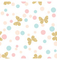 gold glittering butterflies seamless pattern on vector image