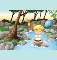 a boy meditate in nature vector image