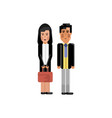 asian staff couple in business suits vector image vector image