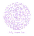 baby shower line icons in form a circle vector image