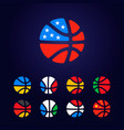 basketball nine country flag logo vector image