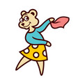 bear girl dancing sign vector image vector image