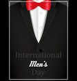 black jacket and red bow tie with text vector image vector image
