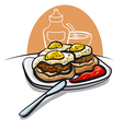 burgers with eggs vector image vector image