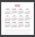 calendar for 2021 year week starts on sunday vector image vector image