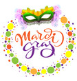 carnival mardi gras mask and colored confetti vector image vector image