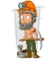Cartoon bearded digger with coal in helmet vector image vector image