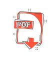cartoon pdf file icon in comic style pdf download vector image vector image