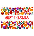 christmas decorations greeting card vector image