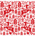 christmas folk red seamless pattern scandi vector image vector image
