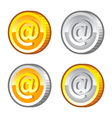 Coins with internet sign vector image vector image