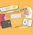 colorful office workplace top view template vector image