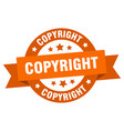 copyright ribbon copyright round orange sign vector image vector image