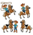 cowgirl and horse set vector image vector image