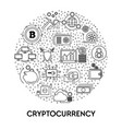cryptocurrency and blockchain system bitcoin vector image vector image