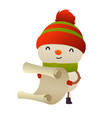 cute cartoon snowman reads paper letter wish list vector image