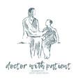 doctor patient drawn sketch vector image