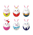 easter rabbit eggs vector image vector image