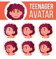 fat teen girl avatar set face emotions vector image vector image