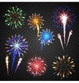 Festive fireworks collection of different colors vector image vector image