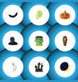 flat icon festival set of tomb cranium crescent vector image vector image