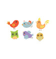 flat set colorful little birds lovely vector image vector image