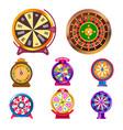 fortune wheel gambling items casino roulette wheel vector image