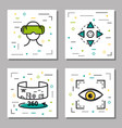 four virtual reality linear icons vector image vector image