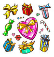 funny cartoon colorful gift boxes set vector image vector image