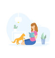 girl reading a book with a cat vector image vector image