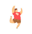 handsome overweight man in casual clothes fat guy vector image vector image