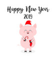 happy new year 2019 christmas pig holding candy vector image vector image