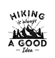 hiking adventure logo hiking is a vector image vector image