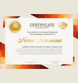horizontal certificate template with triangle vector image vector image