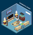 house maid isometric composition vector image