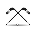 icon hockey sticks and a puck with shadow vector image vector image