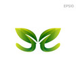 leaf nature initial e logo icon element vector image vector image