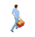man with grocery basket cart from supermarket vector image vector image