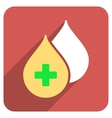 Medical Drops Flat Rounded Square Icon with Long vector image vector image