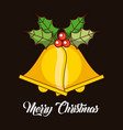 merry christmas bells jingle decoration holly vector image
