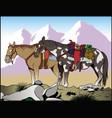 mountain horses vector image