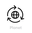 planet recycle icon editable stroke vector image vector image